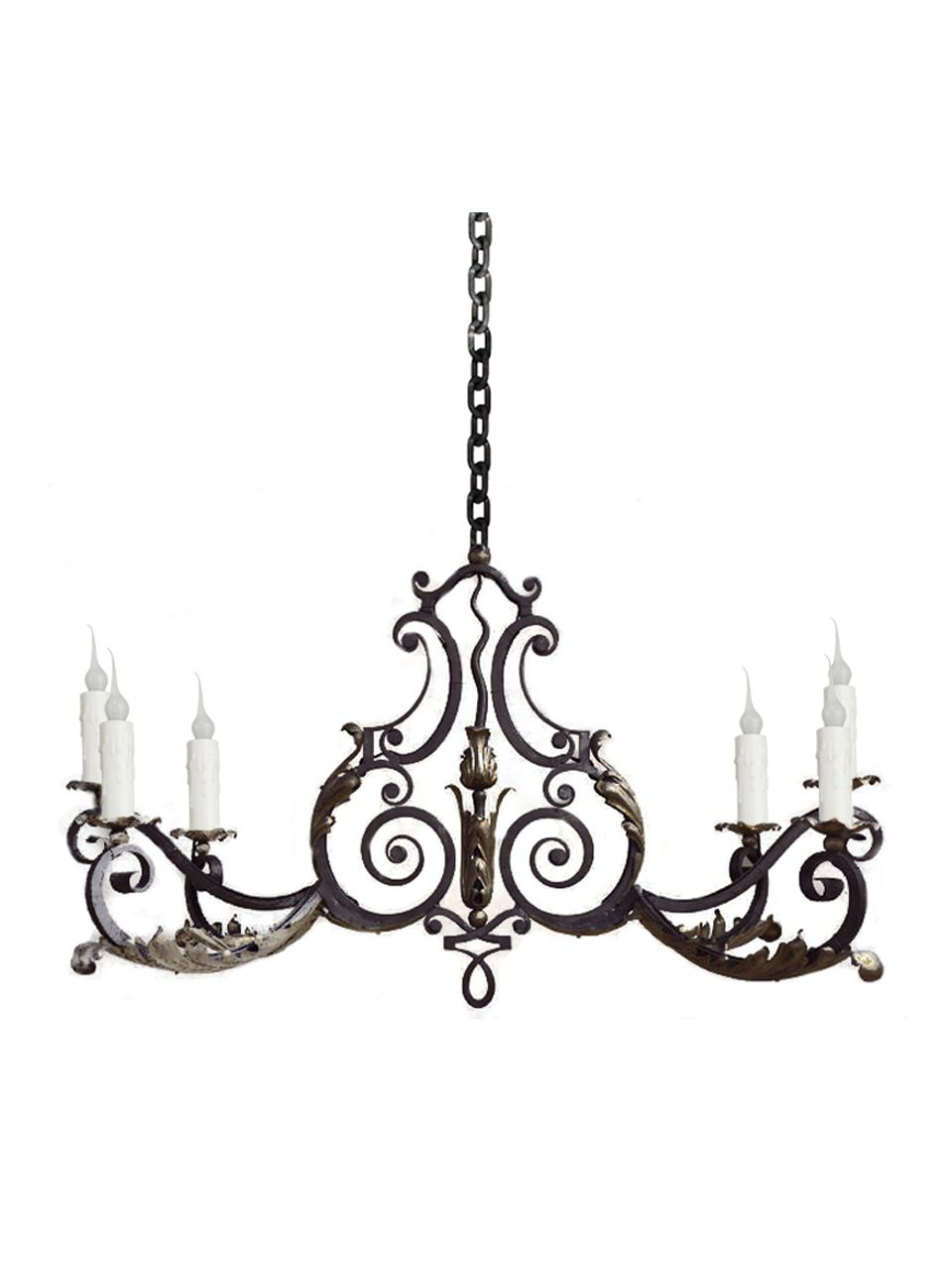 Custom hand forged iron 6 light chandelier by www