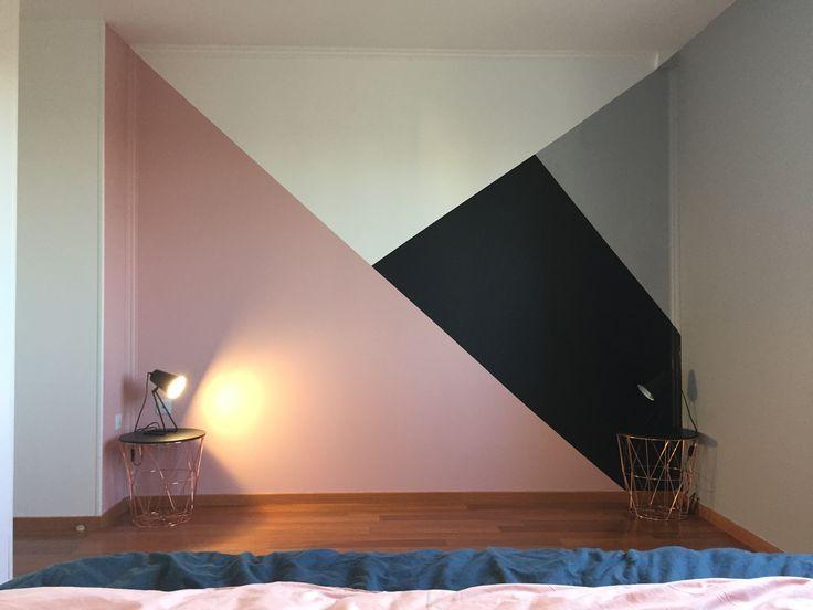 Geometric Painting Painting Room Deco Pink Black White