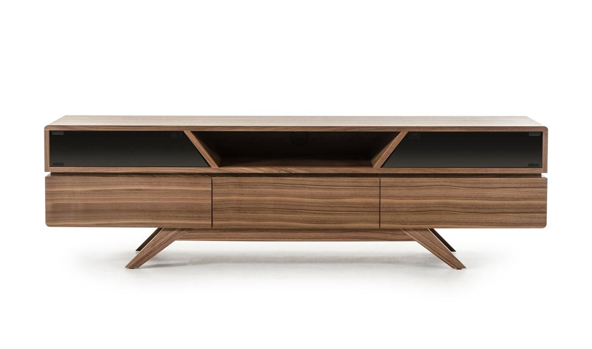 Contemporary Walnut Tv Stand With Smoked Glass Doors Walnut Tv Stand Furniture Design Tv Stand
