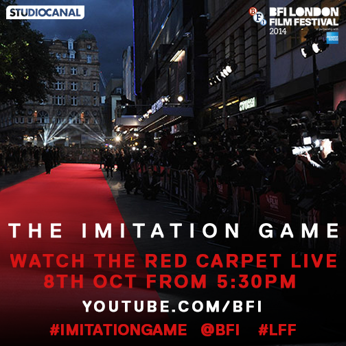 Watch the #LFF red carpet live from 5:30pm tomorrow: https://www.youtube.com/bfi #ImitationGame