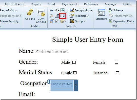 Create User Entry Forms In Word 2010 Microsoft office and Microsoft - copy how to make a letter format on microsoft word 2007