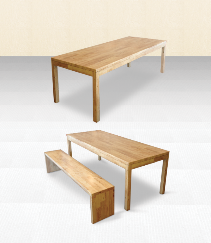 Butcher Blocked Table Top With Column Table Leg Comfort Design The Chair Table Peoplecomfort Des Butcher Block Table Tops Butcher Block Tables Table Legs