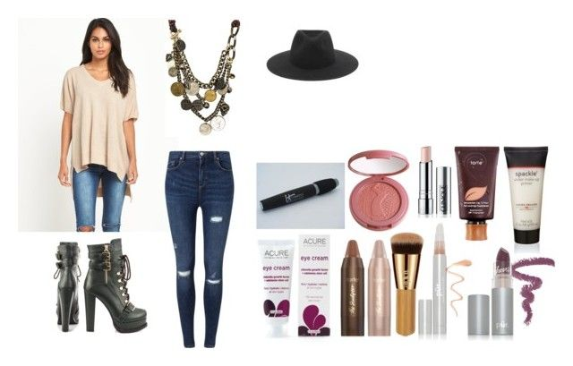"""""""Outfit 313"""" by kalexandrea123 ❤ liked on Polyvore featuring Miss Selfridge, Luichiny, rag & bone, tarte, PurMinerals, It Cosmetics and Laura Geller"""