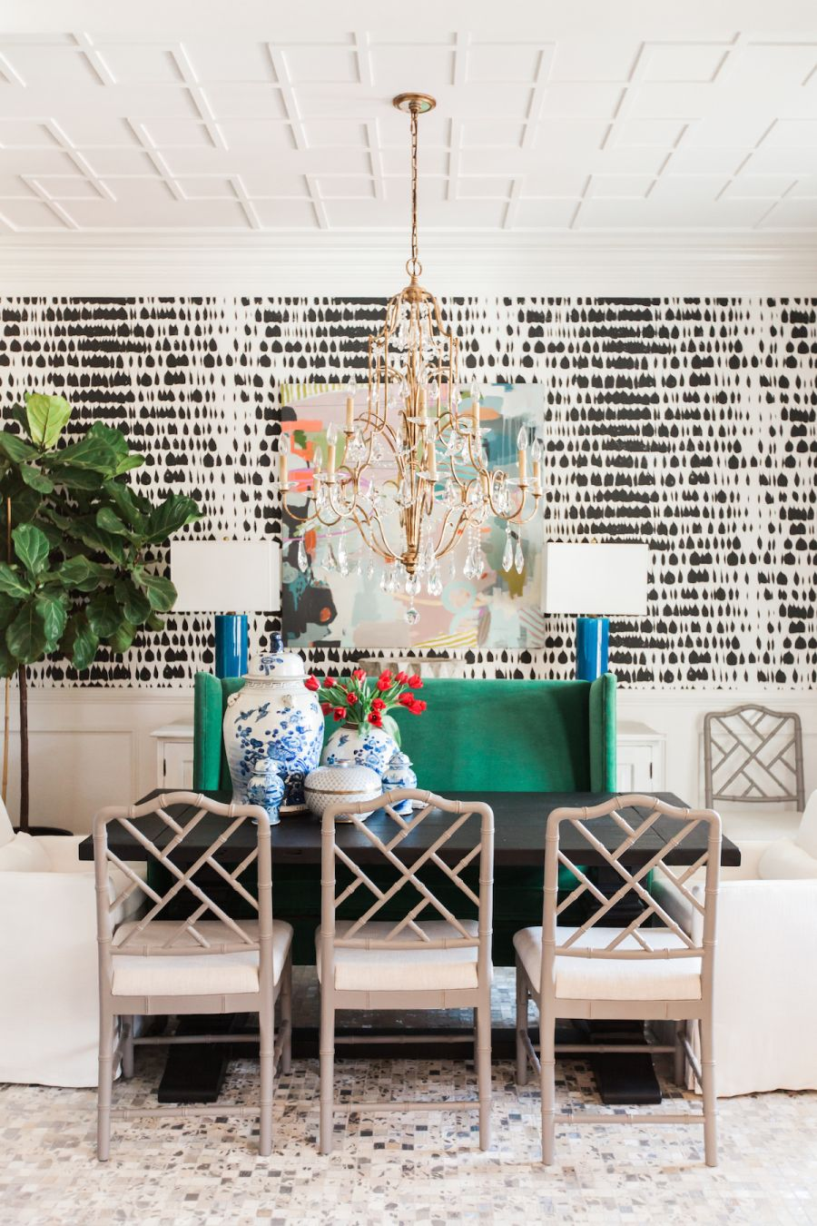a bold color pattern filled dining room dining rooms dining rh pinterest com