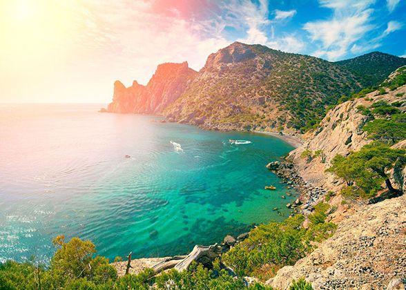 Crimea Outdoor Sunlight Island Coast Stone Rose Seaside Travel Sunrise Rock Red Peace Noviy Svet Magic Horizon Orange Evening Morning Sun