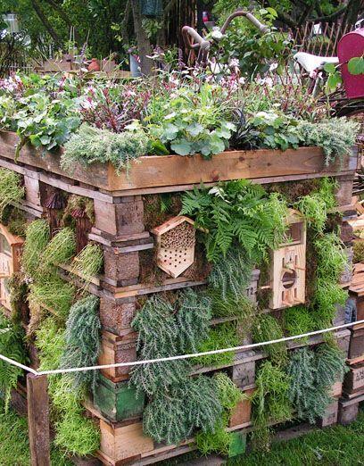 Insektenhotel und Kräutergarten in eins aus Paletten gebaut #kräutergartenpalette