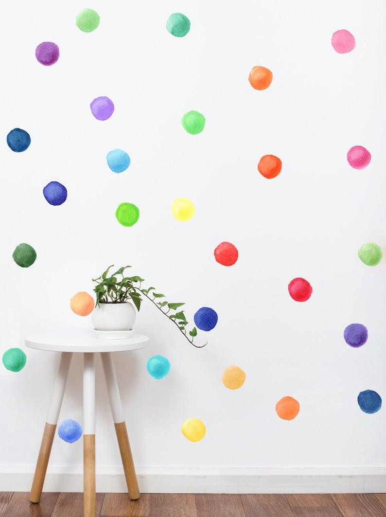 Rainbow Watercolor Dots Fabric Wall Decal Watercolor Dots Etsy