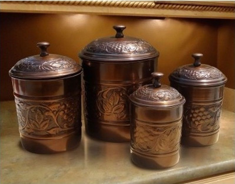 Copper Canister Set 4 Piece Kitchen Storage Container Antique