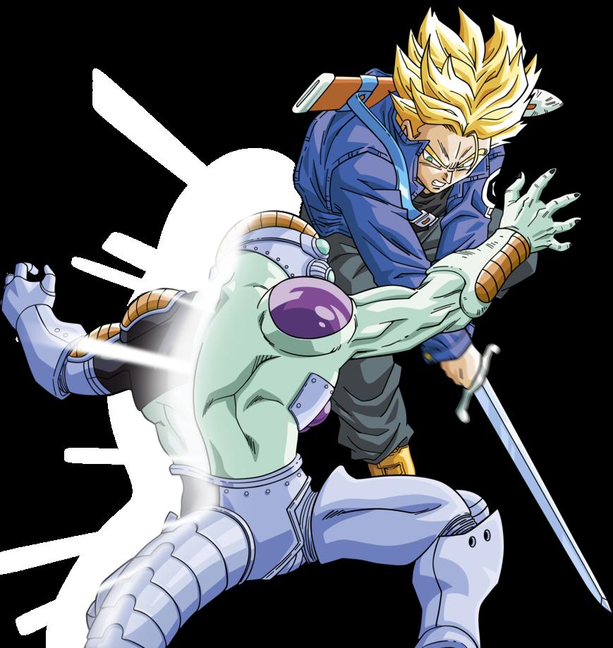 Dbkai Super Saiyan Trunks Vs Frieza Render By Xsaiyan Anime Dragon Ball Super Dragon Ball Super Manga Dragon Ball Art