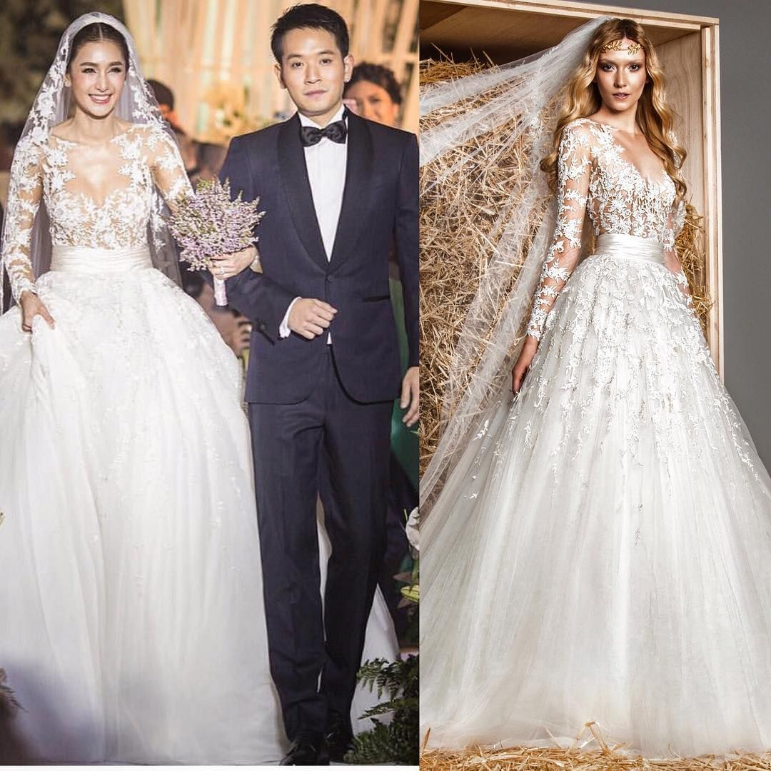 Thai Wedding Gowns: Beautiful Thai Actress Noey Chotika Walked Down The Aisle
