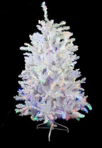 $139.99-$279.99 4.5' Pre-Lit White Iridescent Artificial Christmas Tree - Multi LED Lights - 4.5 Foot Pre-Lit White Iridescent Artificial Christmas Tree  Item #100025218 White foliage with iridescent accents Features: ? Slim profile  Pre-lit with 250 multi-color LED wide angle lights Multi-color consists of purple, green, red, amber, blue, orange and warm clear bulbs If one bulb burns out, the r ...
