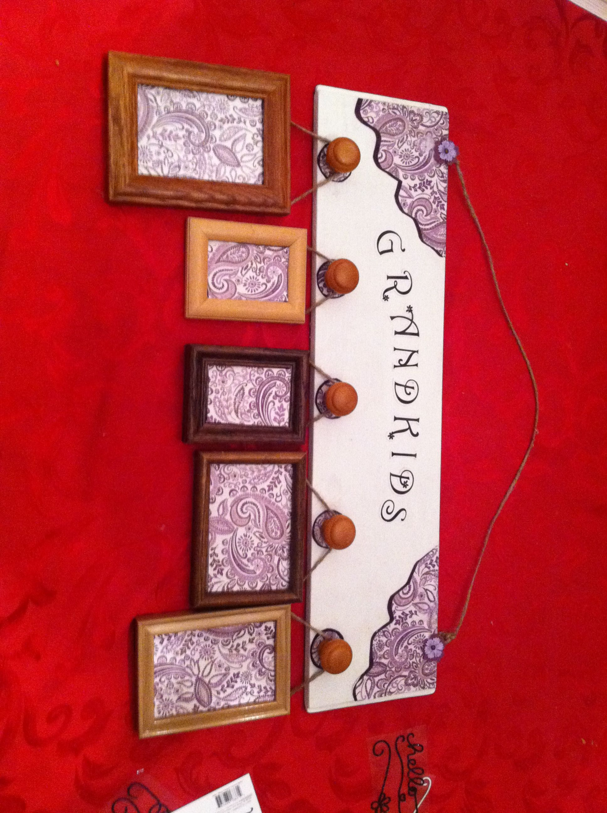 Scrapbook paper display - Grand Kid Display Board Painted Board Scrapbook Paper With Modpodge Add Knobs And
