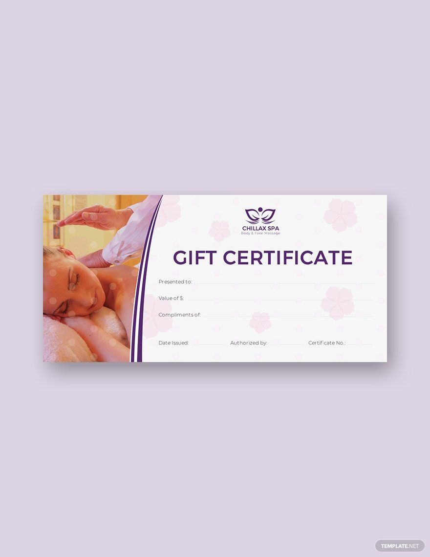 Massage gift certificate template free pdf word psd