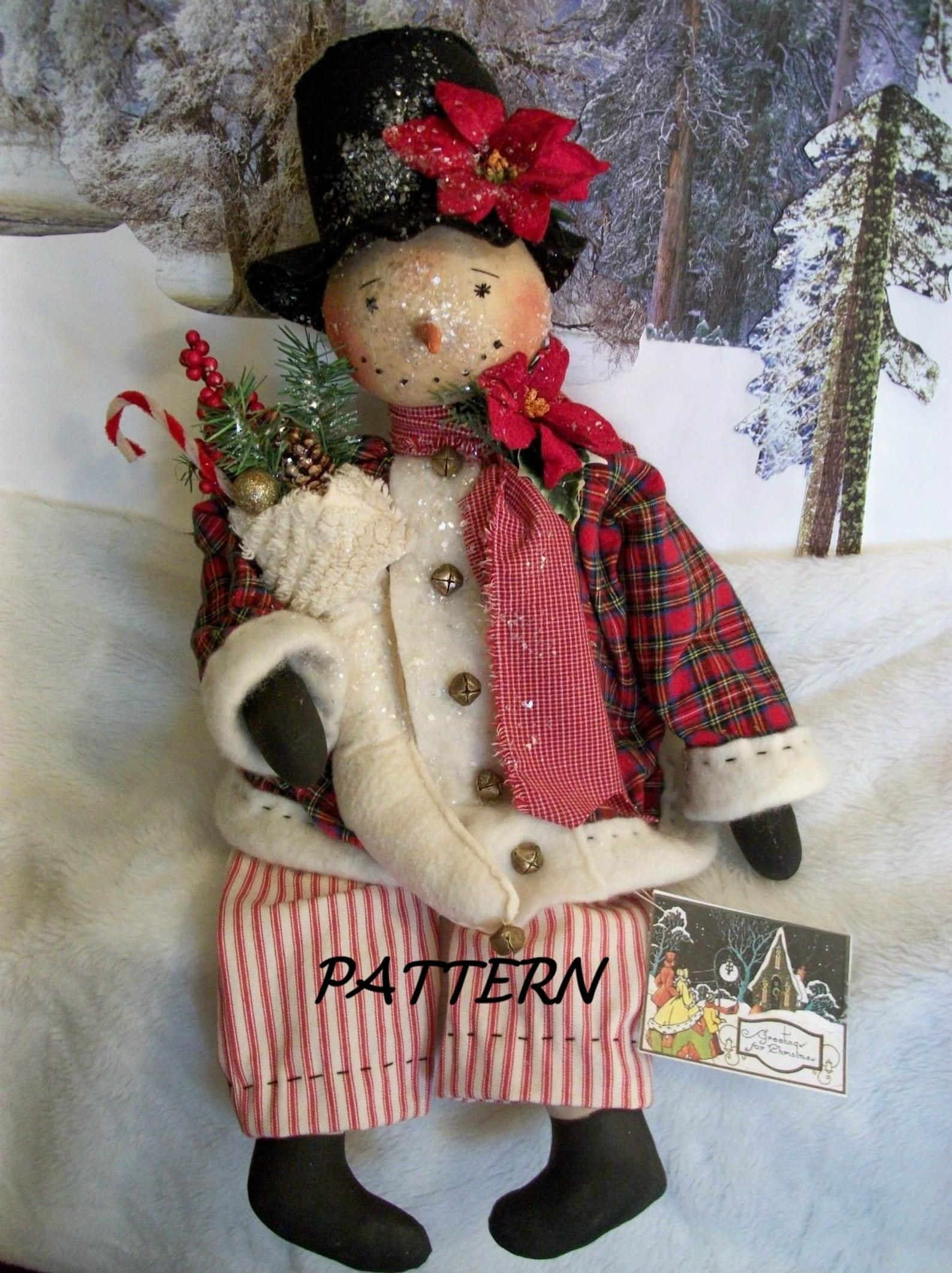 Primitive Whimsical Christmas Winter Snowman Shelf Sitter Doll Wreath Pattern