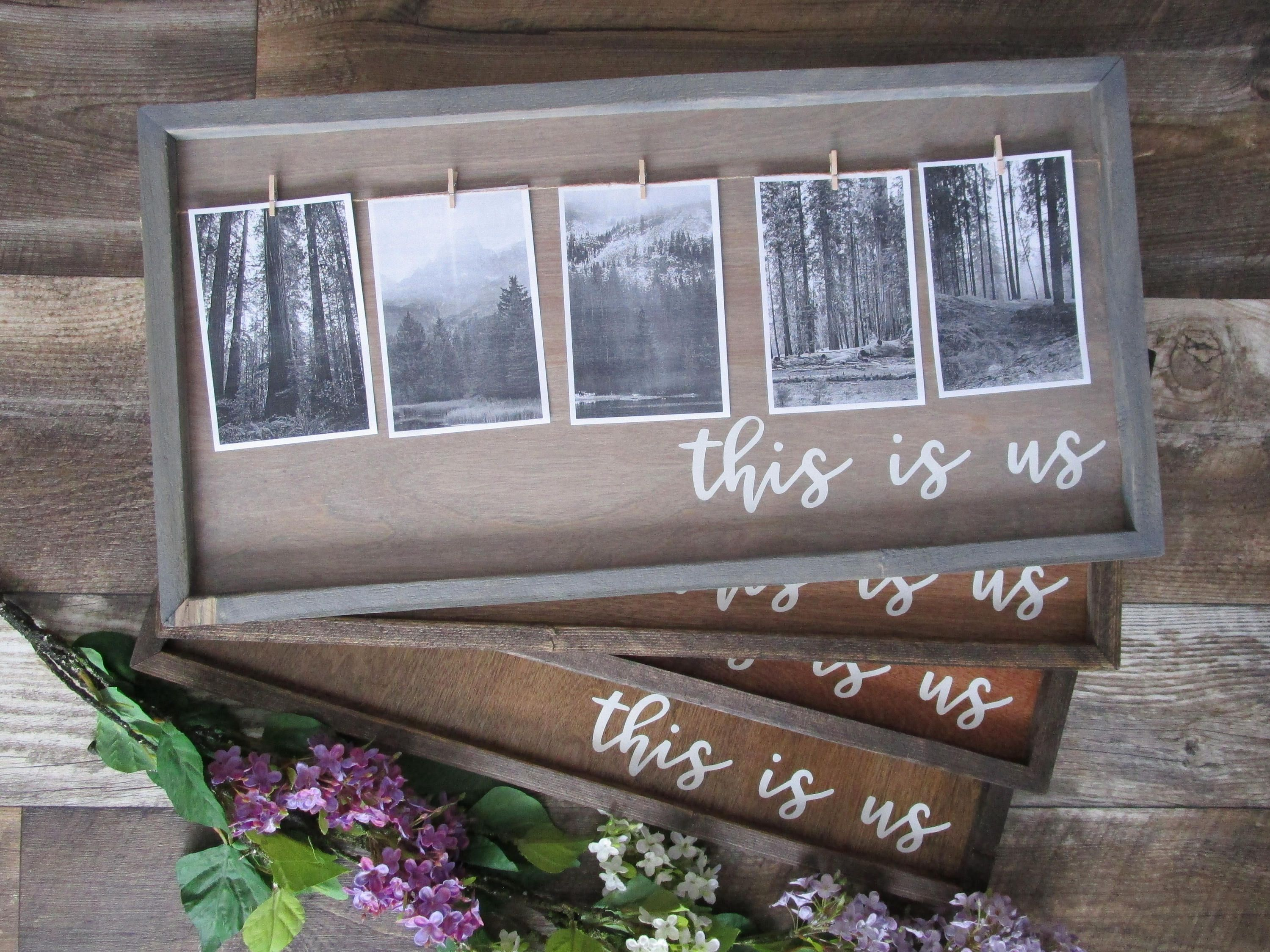 This Is Us Wood Photo Display Mini Clothes Pins Photo Holder