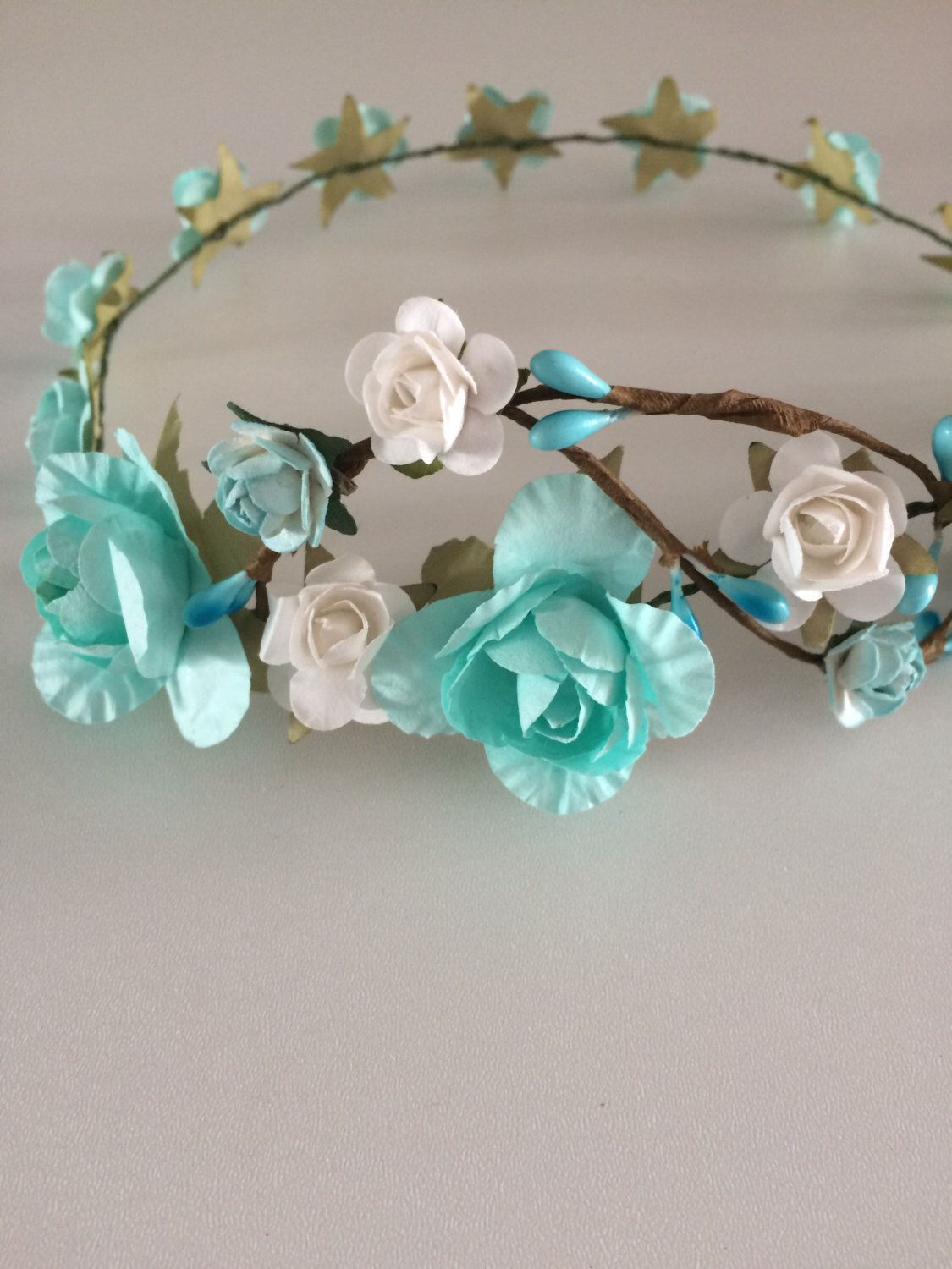 Flower crown rose crown turquoise and white rose tiara flower g flower crown rose crown turquoise and white rose tiara flower girl headband izmirmasajfo