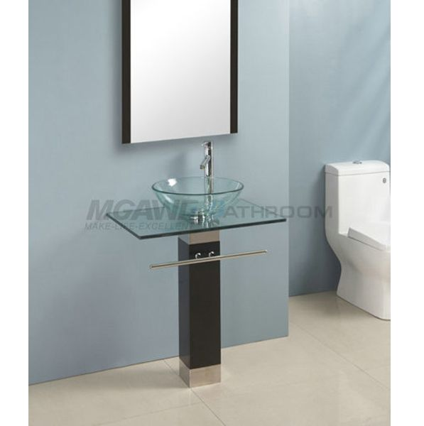 Glass Vessel Sink Vanity With Clear Glass Bowl Clear Glass Top Plywood Stand Stainless Steel Towel Bar Vessel Sink Vanity Vanity Sink Modern Bathroom Sink