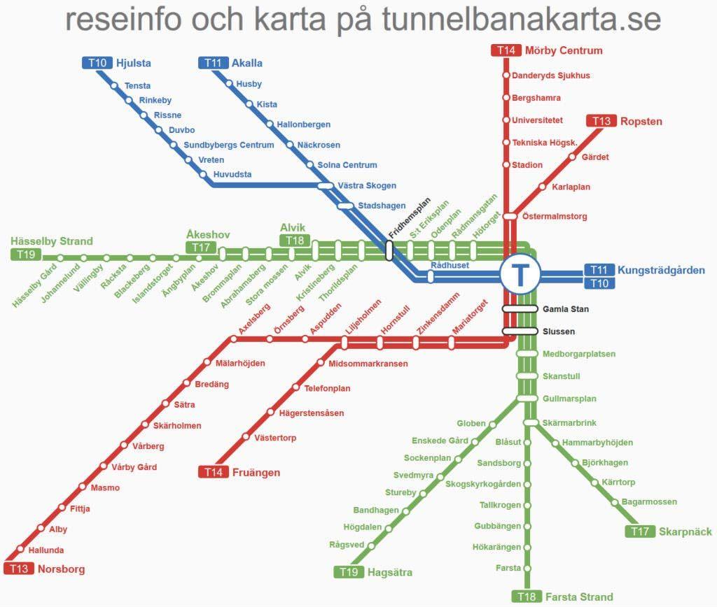 Vektorbaserad Karta Som Gor Det Enkelt Att Zooma In Med Bra Grafik For Stockholms Tunnelbanekarta Stockholms Tunnelbana Karta Stockholm