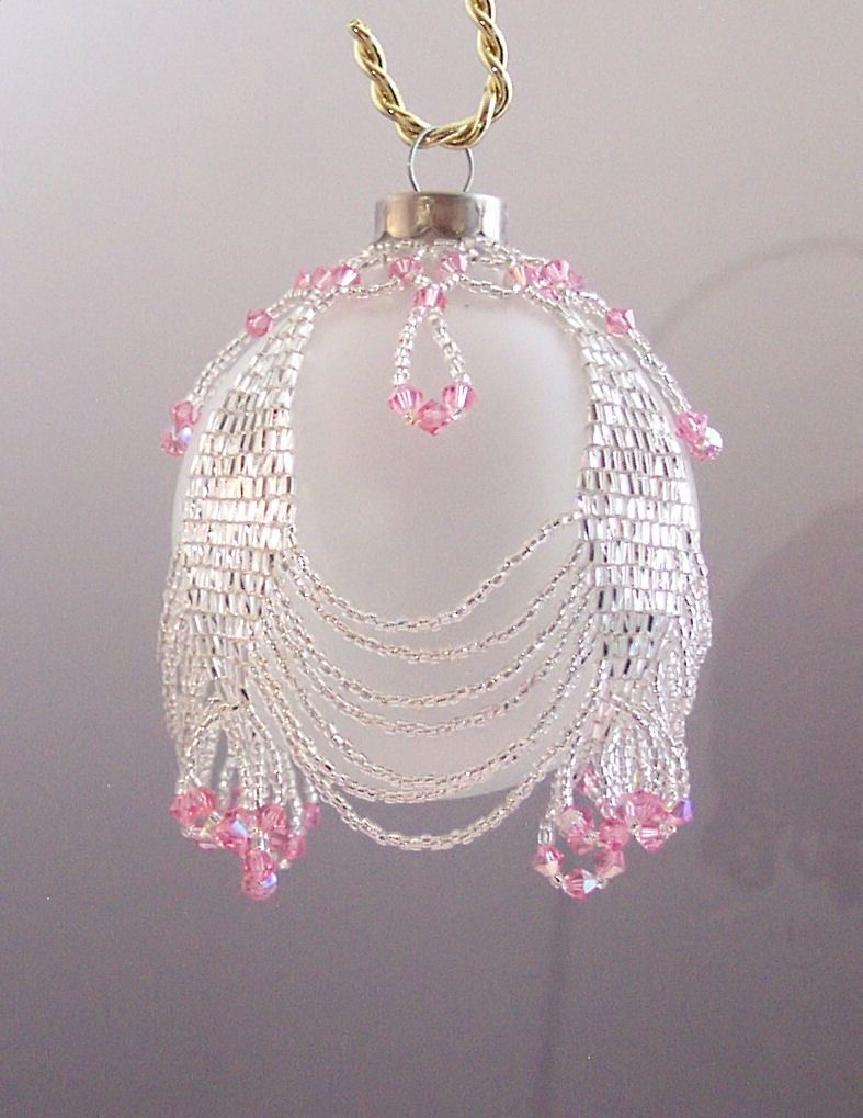 Noel Pink And Silver Ornament Jpg 787 1 019 Pixels Wow Giving Me Idea To Glamify My Family Name Ornam Beaded Ornament Covers Christmas Bead Beaded Ornaments