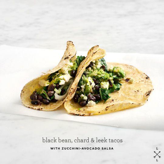 black bean tacos with zucchini-avocado salsa //