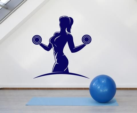 2048ig Vinyl Wall Decal Gym Girl Guy Muscle Fitness Beautiful Body Stickers
