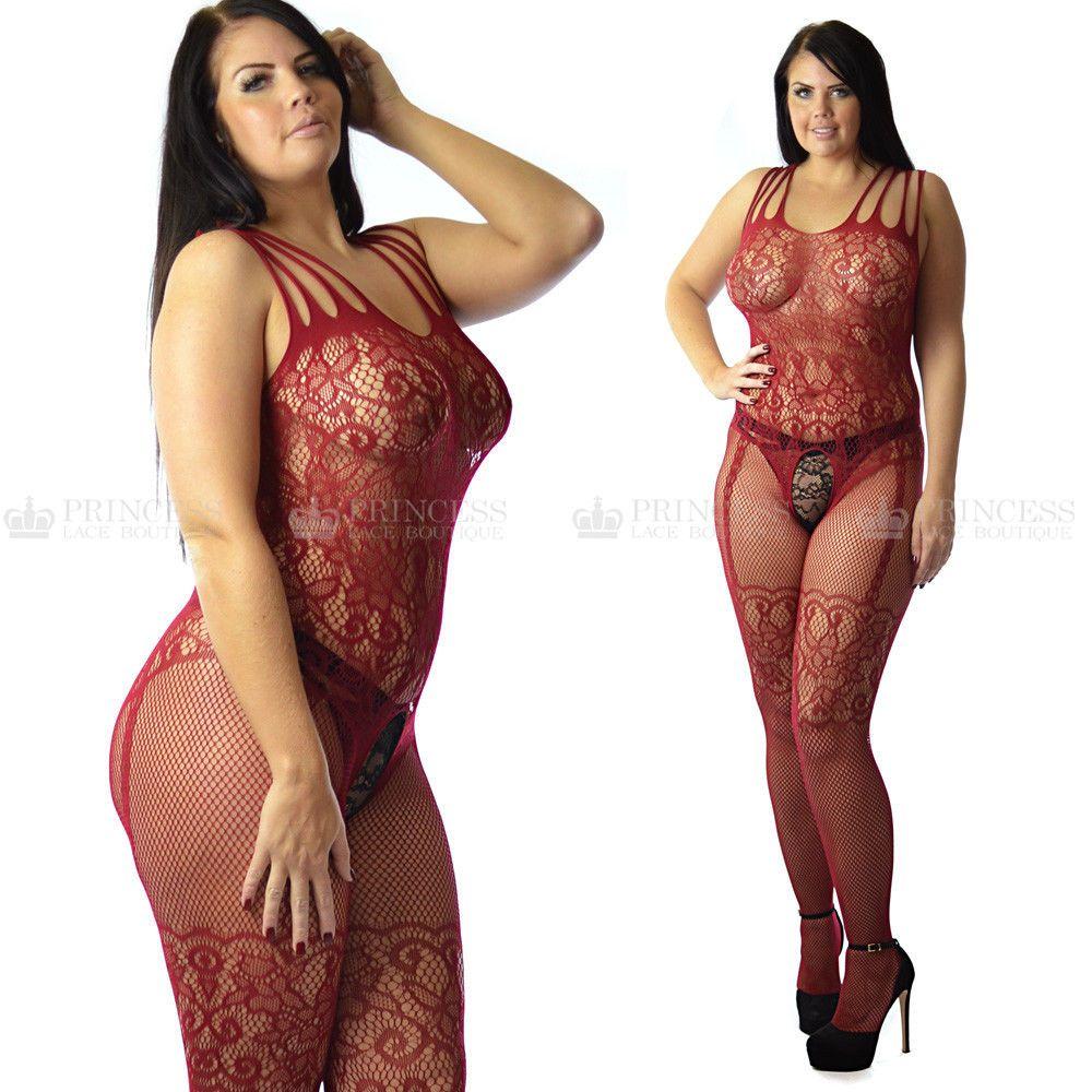 0cddf87e81c Uk Size 12-26 Plus+ Curvy Women s Lingerie Lace Fishnet Body Stocking  Nightwear  ebay  Fashion