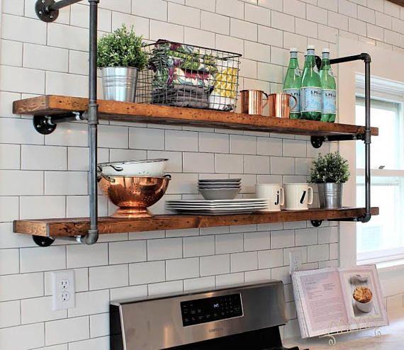 barnwood rustic farmhouse pipe wall unit 10 floating open kitchen rh pinterest com