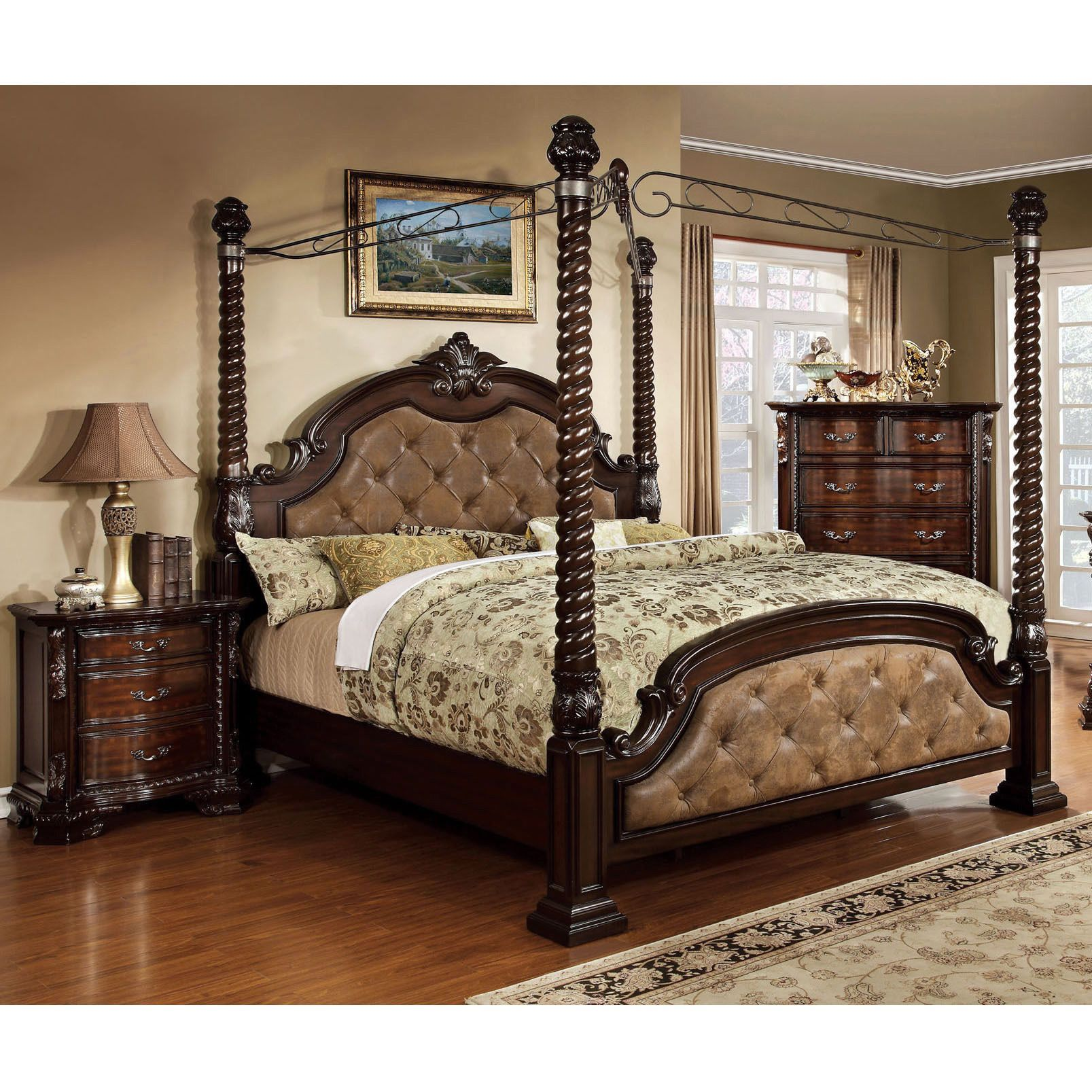 furniture of america kassania luxury 3 piece poster canopy bed set rh in pinterest com
