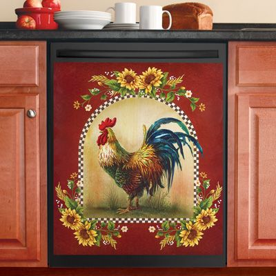 Sunflower And Rooster Country Dishwasher Magnet Rooster Kitchen