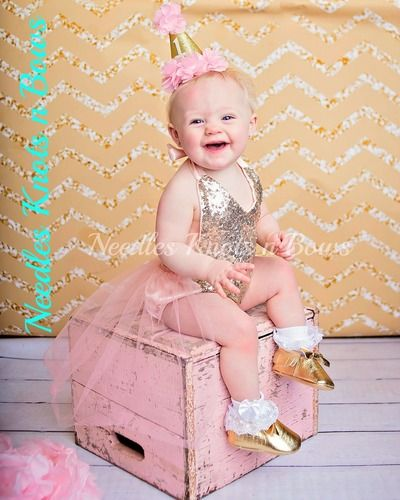 75229377848 Girls Pink and Gold Romper with Tulle Skirt
