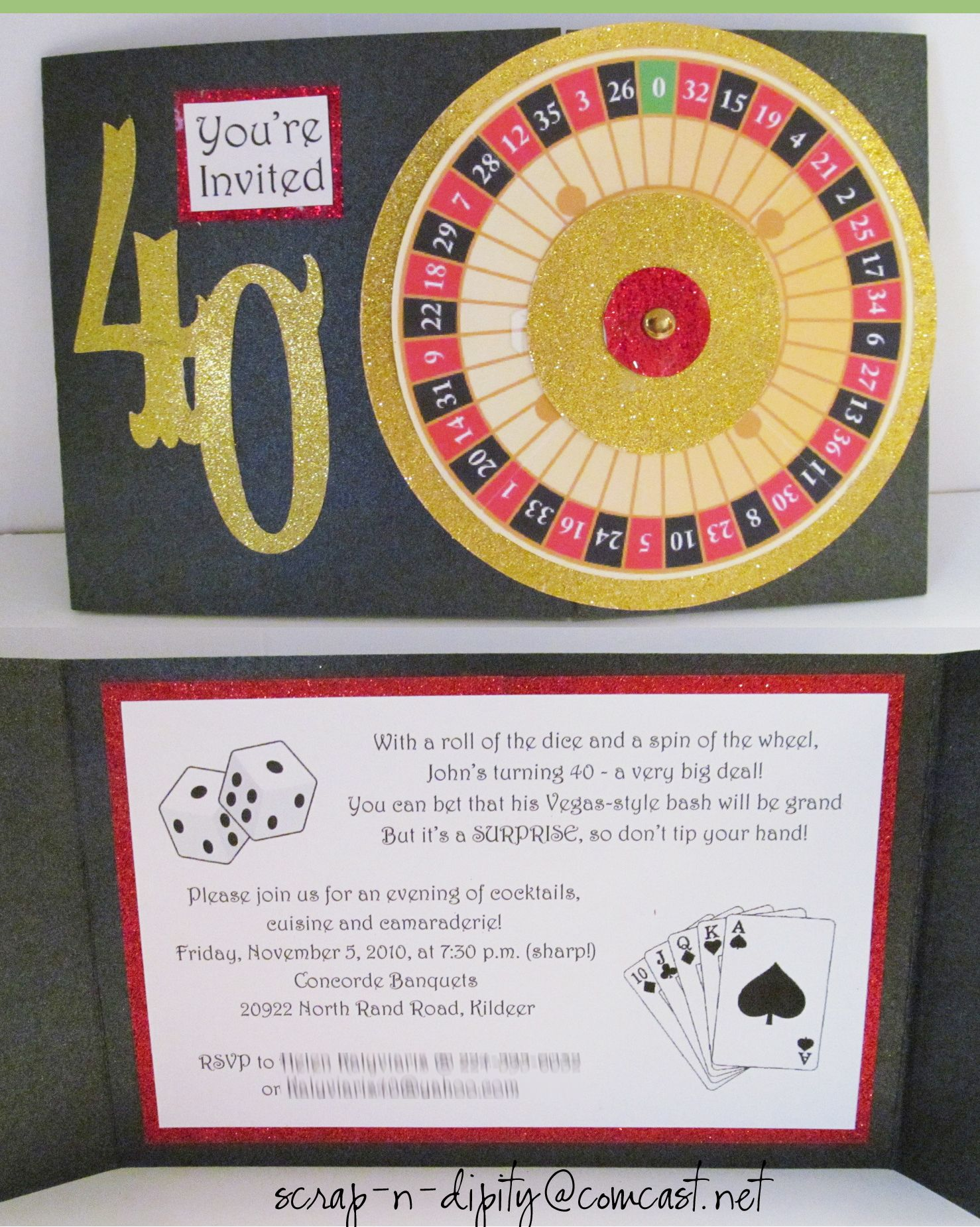 A roulette wheel for a Vegas themed 40th
