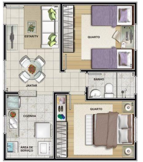Apartamento decorado pequeno de 46m mrv 1 casa en 2019 for Planos de bares pequenos