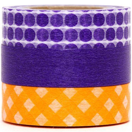 Washi Masking Tape deco tape set 3pcs dot & checker