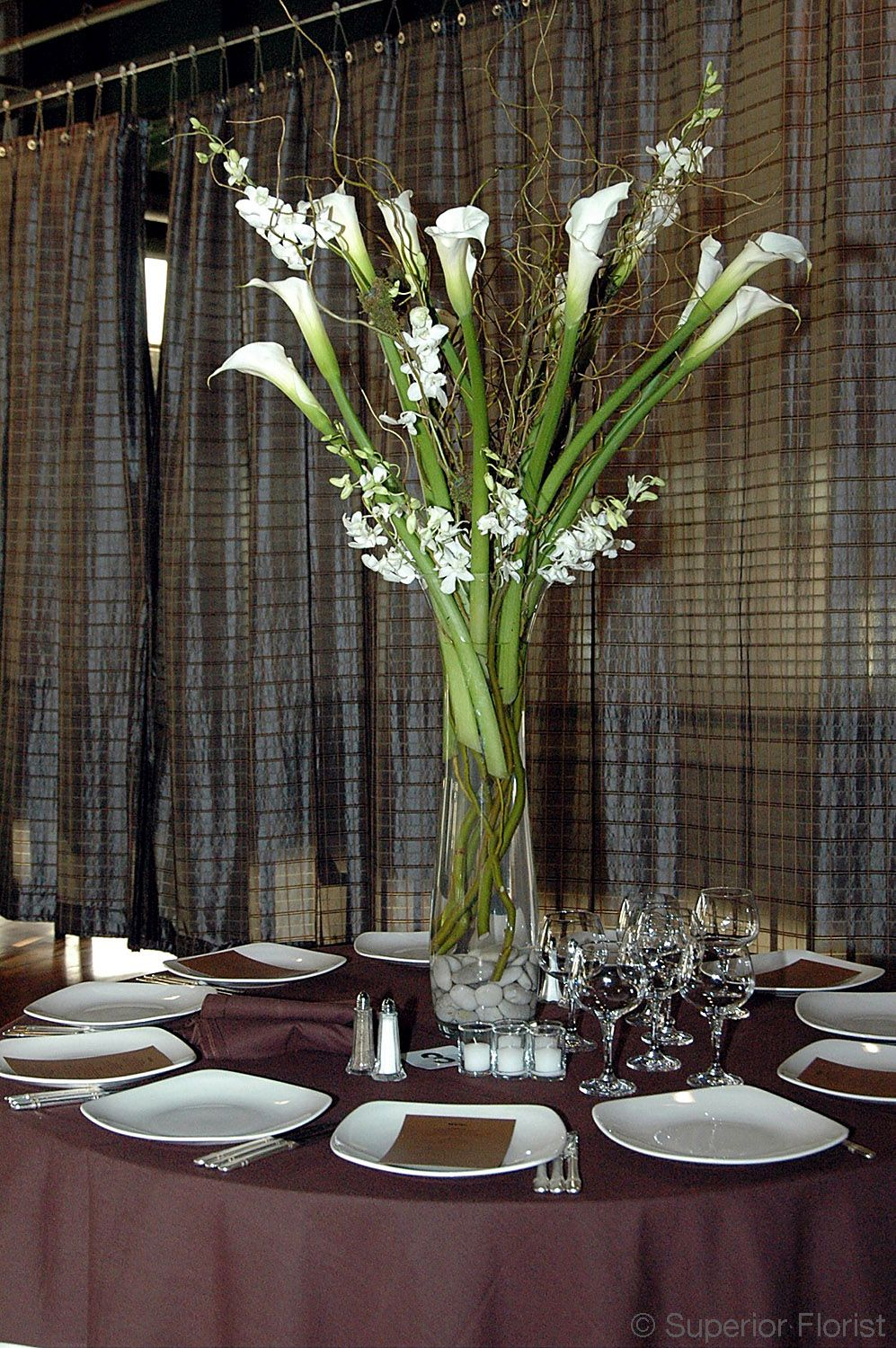 superior florist centerpieces curly willows callas and rh pinterest co uk
