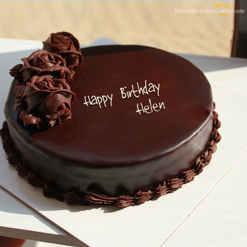 Amazing Chocolate Cake For Birthday With Name Helen With Images Birthday Cards Printable Opercafe Filternl