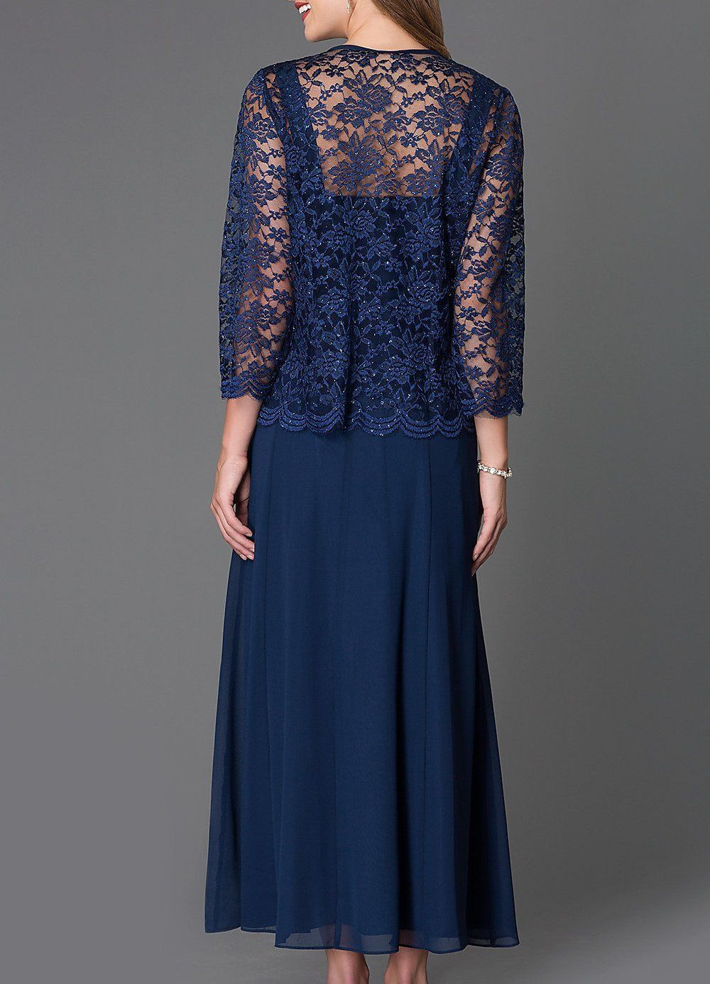 9a637f4668c Long Chiffon Navy Blue Mother of Groom Dress 3 4 length Long Sleeve ...