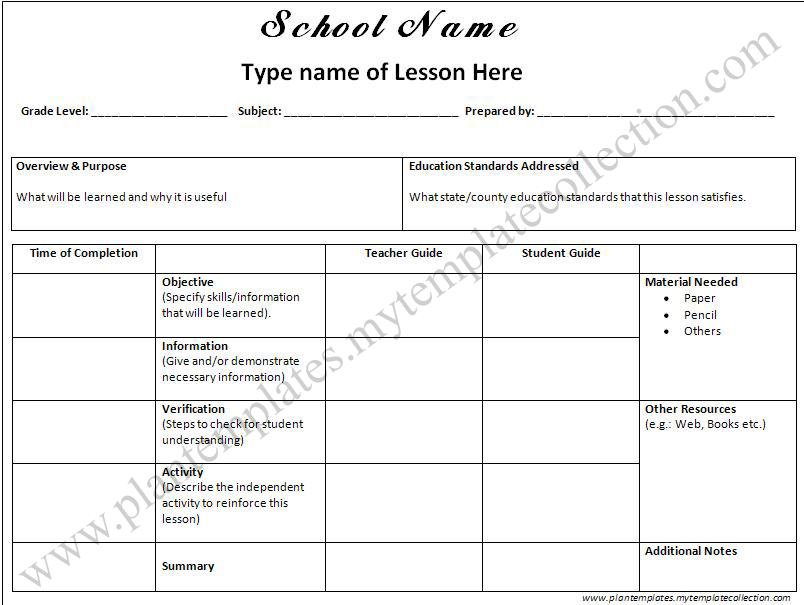 If You Want To Download This Lesson Plan Template You