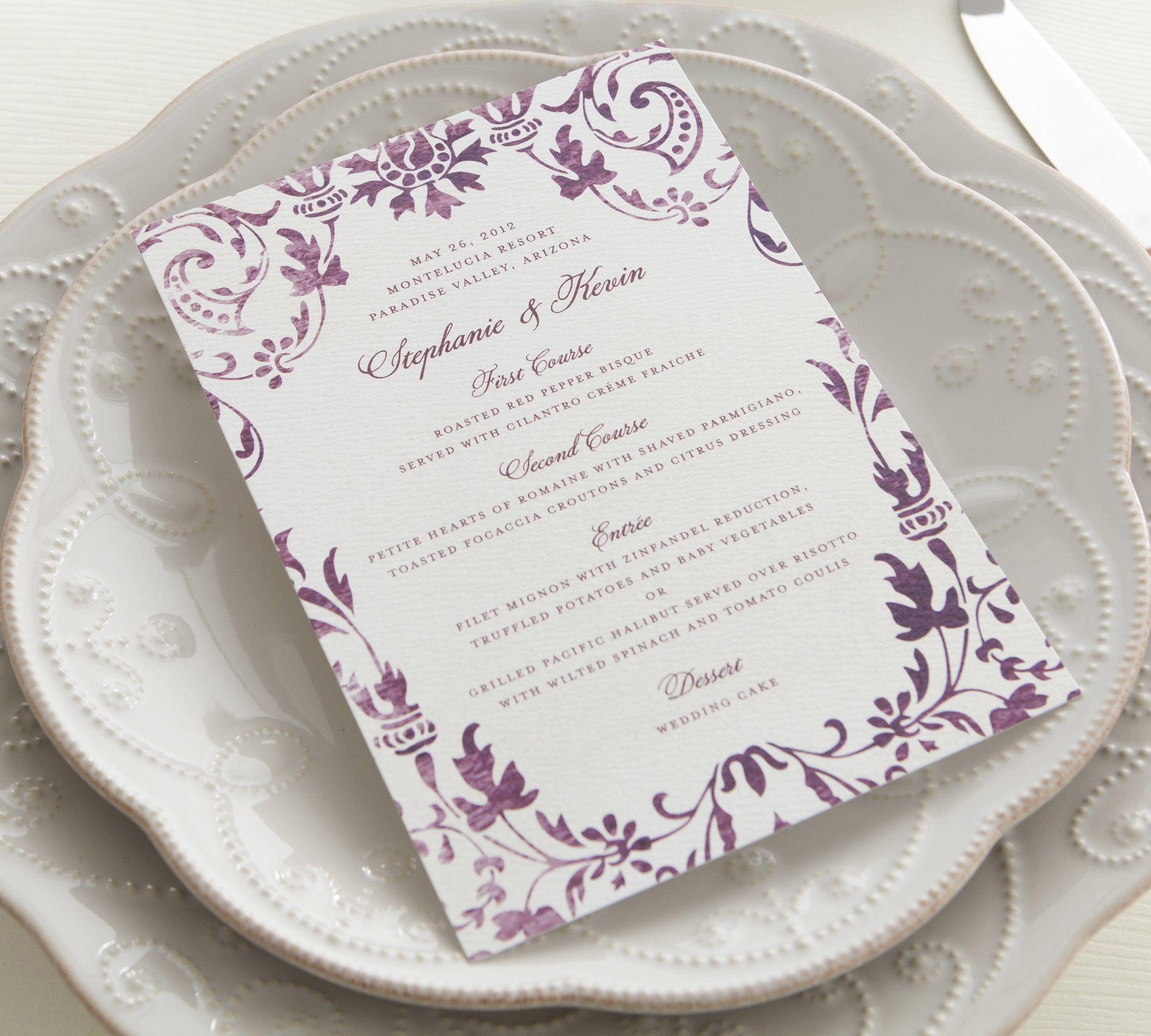Wedding Menu Cards Shutterfly A wedding