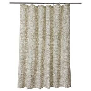 The Threshold Tribal Geo Shower Curtain Offers A Unique Decorative Accent For Your Bathroom A Printed Tribal Design On This 100 Cotton Fabr Curtains Shower Liner Curtain Rods