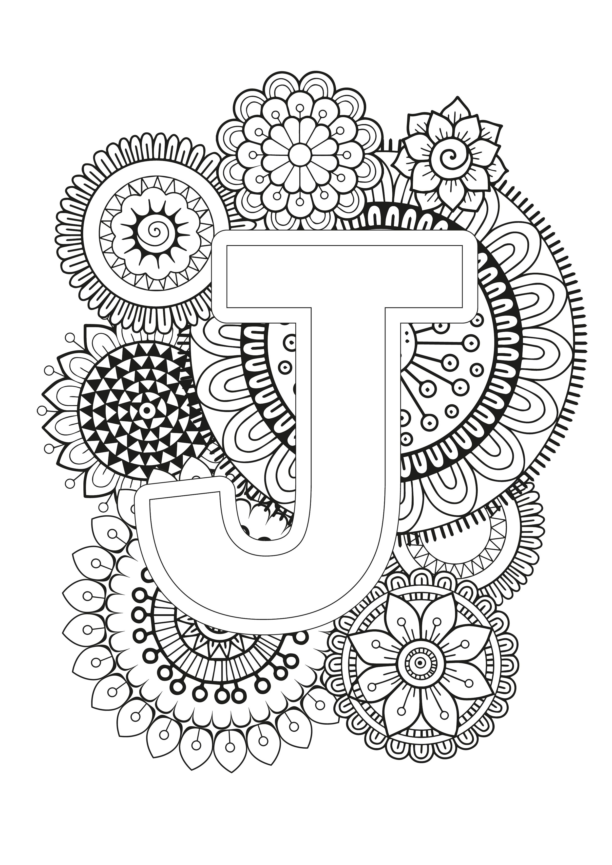 Mindfulness Coloring Page - Alphabet | Mandala coloring ...