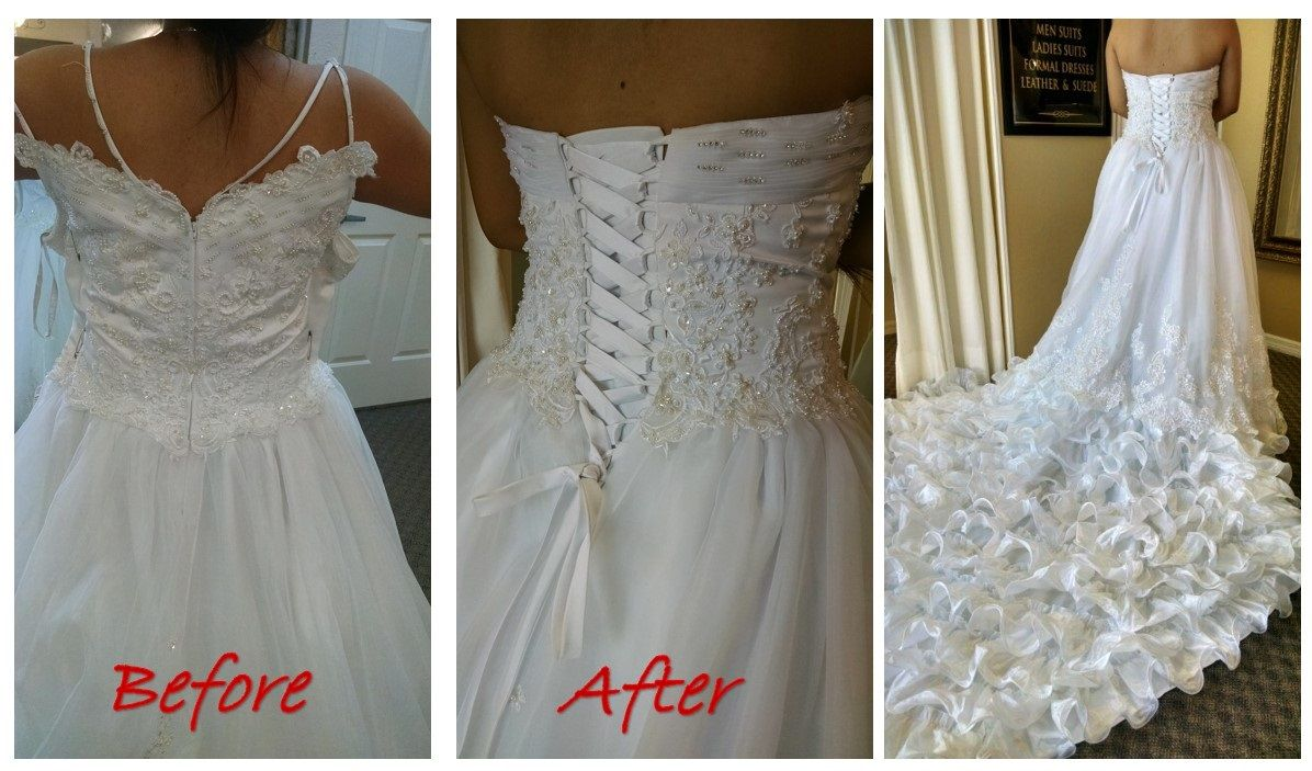 Wedding Gown Alteration From Zipper To Corset Gown Alterations Wedding Gown Alterations Bridal Alterations