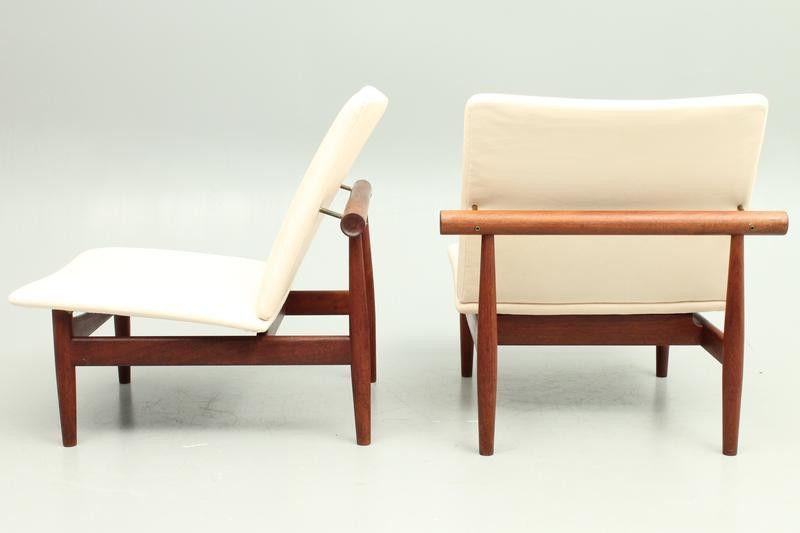Pair of teak and leather Japan easy chairs model FD137 by Finn Juhl, Denmark | DesignAddict