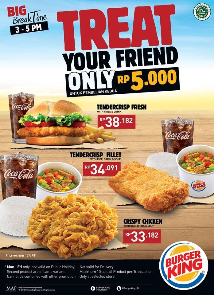 Spesial Promo Pembelian Paket Big Break Time Rp 5 000 Di Burger King Diskon Promo Terbaru Makanan Dan Minuman Makanan Burger