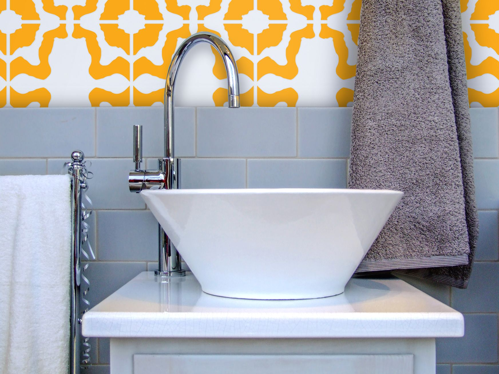 Bring some color to that neutral bath! This sink backsplash is ...