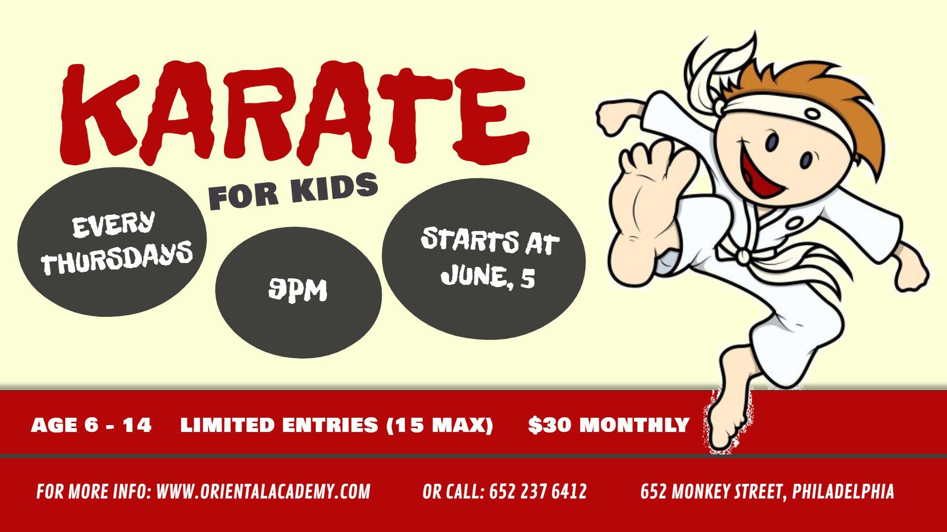 Karate school for kids class custom banner and digital