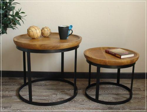 Beistelltisch Couchtisch Tisch Set Rund Skandinavisches Design Holz Metall Neu Ebay Couchtisch Skandinavisch Tischset Beistelltisch