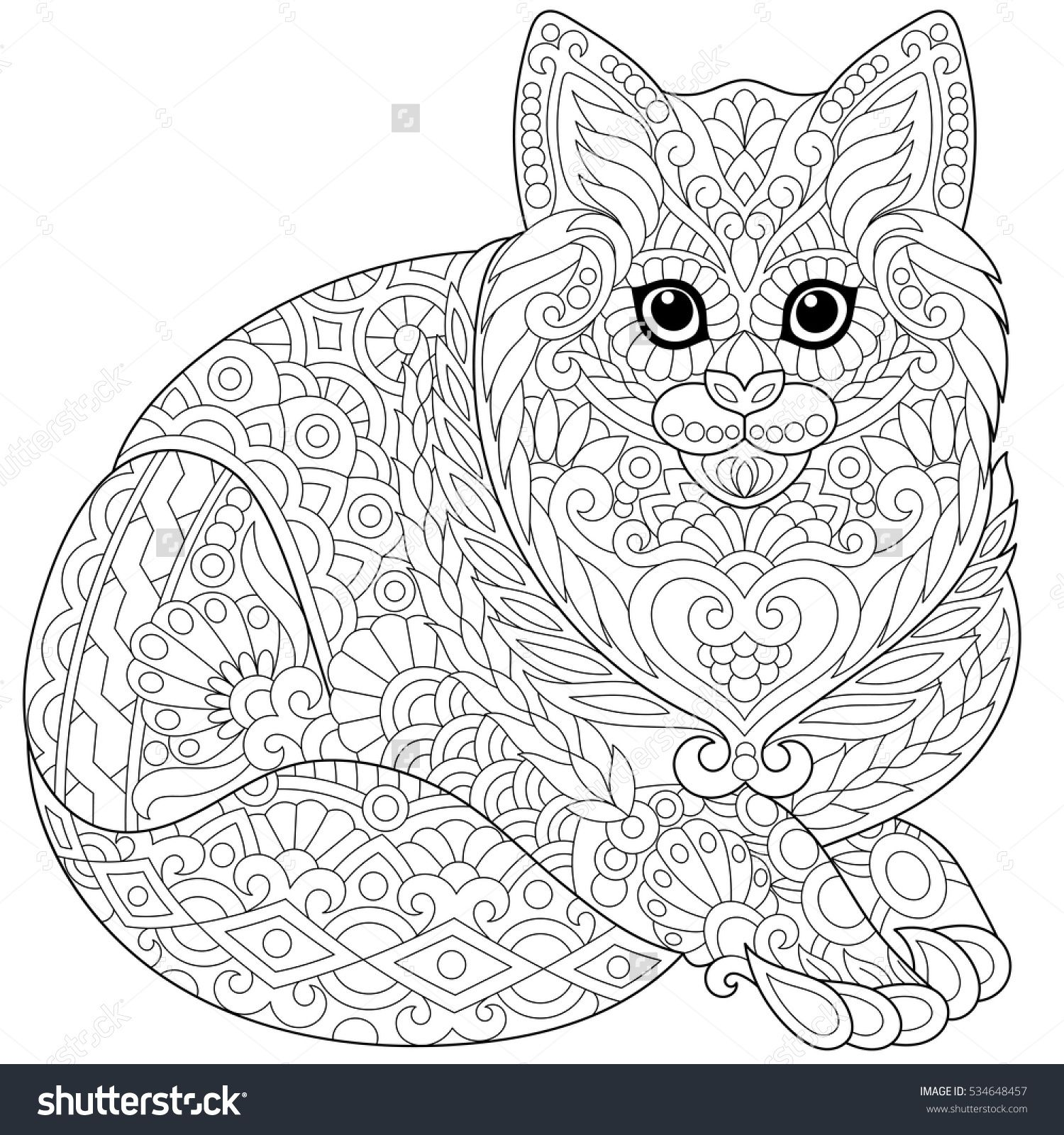 Stylized cute cat (young kitten). Freehand sketch for adult anti ...