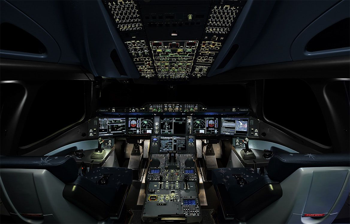 airbus a350-900 illuminated cockpit night, a350-900 ...