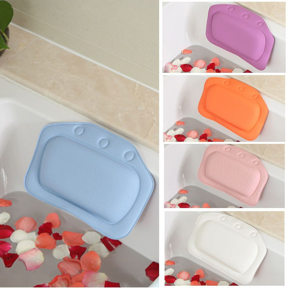 Home Relaxing Cushioned Bath Spa Pillow Head Neck Rest Bathtub Pillow 4 Colors