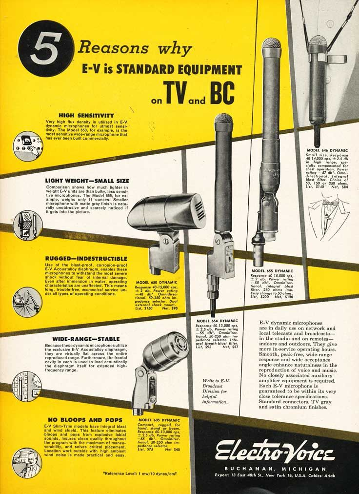 1953 ad for the electro voice 635 646 650 654 and 655 1953 ad for the electro voice 635 646 650 654 and 655 microphones
